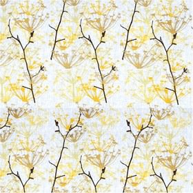 Ogras - Yellow - White fabric with yellow meadow flowers from IKEA