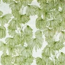 Palma - Green - Green palm leaves printed on white fabric from IKEA