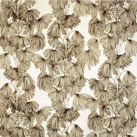 Palma - Nougat - Nougat grey palm leaves printed on white fabric from IKEA