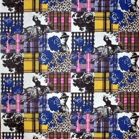 Sir Harold - Multi - IKEA mdoern chequered fabric with flower, tartan, and scale patches in multiple colours