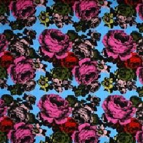 Baronessa - Blue Upholstery - Modern fabric with classic pink red and black roses on a blue background