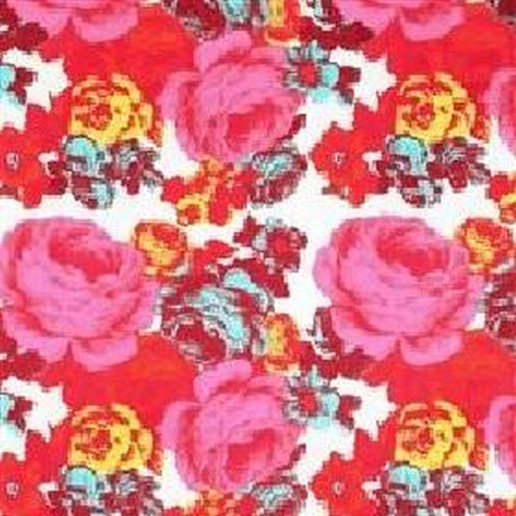 Baronessa - Orange Upholstery - Modern fabric with classic pink and red roses on a white background