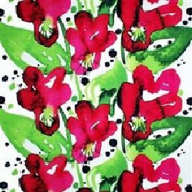 Styvmorsviol - Cerise - Cerise red and green watercolour flowers on white IKEA fabric