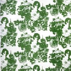 Mademoiselle - Green - White fabric with printed green images of a lady in flowers