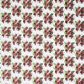 Viola - Cerise - White IKEA fabric with a modern cerise red and green floral grid