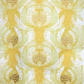 Havstulpan - Yellow - Modern yellow and green floral chains on white fabric