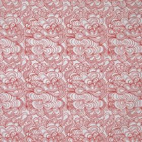 Blomma - White Red - Light grey-white coloured linen fabric patterned with repeated red concentric swirling shapes which resemble clouds