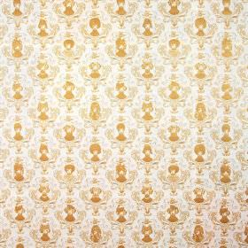Together We Twelve - Gold - Gold coloured portraits, each framed with an ornate oval, on a background of white linen fabric
