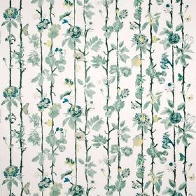 Flowerwall - Green - Cotton fabric in white patterned with vertical vines and flowers in shades of dark green-grey and a little pale yellow