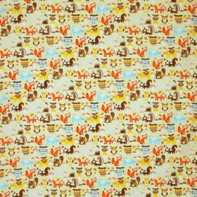 Woodland - Multi - Yellow childrens IKEA fabric with multicoloured happy woodland animals, like foxes, owls, squirrels