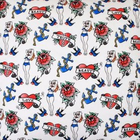 Tatood Sailor - White - White fabric with ed hardy-like sailor tatoo designs from IKEA