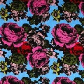 Baronessa - Blue - Modern fabric with classic pink red and black roses on a blue background