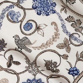 Eden In Sweden - Taupe Blue - Linen fabric with a pattern of navy blue and grey-beige flowers in bunches and chains, swirls, leaves, birds &