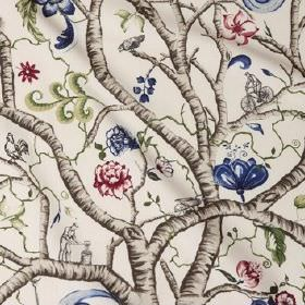 Garden - Tree - Grey-brown tree branches printed over cream coloured cotton fabric with blue,pink, green and white flowers, and images