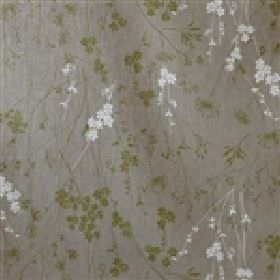 Varsasongen - Grey Green - Linen fabric made in a dark grey colour, with a delicate floral pattern in white and dusky green