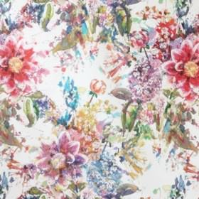Akvarell - Multi - Multicoloured florals of different types printed randomly over white cotton fabric