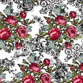 Rosy - Rosie - Bunches of small red roses with even smaller light grey-blue flowers and green leaves printed on off-white cotton fabric