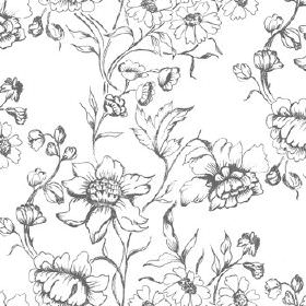 Sketch - Flowers - Bright white 100% cotton fabric patterned with shaded grey flowers and leaves