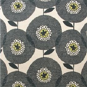 Skinny laMinx Flower Field - Black - White fabric from IKEA with a modern black flower grid
