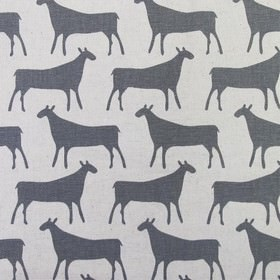 Skinny laMinx Herbs Hide - Grey - Generic cow-like animals' silhouettes printed in dark grey in rows against a background of linen fabric in
