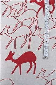 Skinny laMinx Duikers - Aloered - White fabric from IKEA with red deer impressions for children