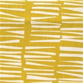 Skinny laMinx Woodpile - Pollen - Mustard yellow coloured fabric made from cotton, with rows of horizontal white lines of different sizes an
