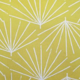 Skinny laMinx Palmetto - Pine Nut - Bright yellow fabric made from 100% cotton fabric, patterned with white lines arranged in fan shapes