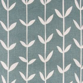 Skinny laMinx Orla - Solid Wedgewood - Simple white leaves and thin vertical lines printed in a sophisticated design on Air Force blue linen