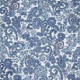 Dagmar - Blue - IKEA whitte fabric with modern blue swirly floral design