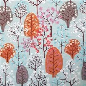 Haga - Turquoise - Modern image of a orange and grey forest on turquoise fabric from IKEA