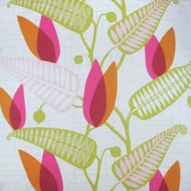 Spalje - Cerise - Greenish white IKEA fabric with modern green and cerise pink foliage prints