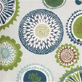 Siri - Blue - White IKEA fabric with an abstract modern blue and green flower print