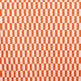 Rutan - Orange - Linen fabric completely covered with a design of alternating bright orange and white rectangles