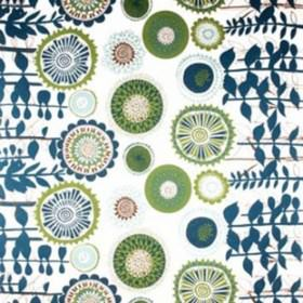 Solros - Blue - Circles in shades of blue and green printed beside horizontal blue stems and leaves on a white linen fabric background