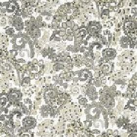 Dagmar - Grey - IKEA whitte fabric with modern greyswirly floral design