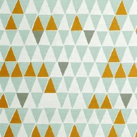Jaffa Light - Turquoise - Cotton-linen blend fabric covered in rows of tessellated triangles in white, olive green and two shades of duck eg