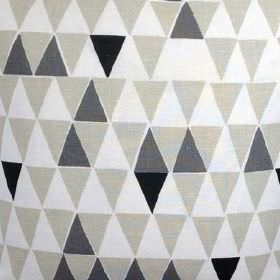 Jaffa - Natural - Light grey, dark grey, black and white triangles covering cotton-linen blend fabric in a simple, repeated pattern