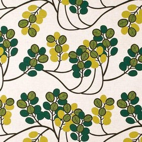 Kvist - Green - Round leaves in three shades of green joined by dark vines on a pale beige coloured fabric made from cotton and linen