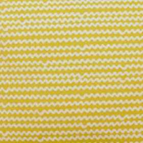 Mello - Yellow - Unevenly spaced white zigzag lines on mustard yellow coloured fabric made from a combination of linen and cotton
