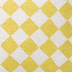 Tam Tam - Yellow - Fabric blended from linen and cotton, covered with a checkerboard effect in mustard yellow and light grey-white
