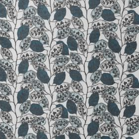 Blad - Blue - Patterned and plain leaves in dusky and duck egg shades of blue against a white cotton-linen blend fabric background