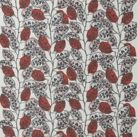 Blad - Red - White cotton and linen blend fabric covered with patterned and solid leaves in light grey and dusky red