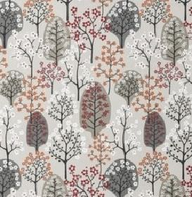 Haga - Khaki - Simple trees with tiny blossoms on cotton-linen blend fabric in shades of grey, white, mulberry and dusky pink