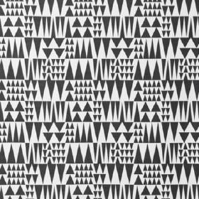 Jazz - Black - Fabric containing a mix of cotton and linen in dark grey and white with a tessellated triangle pattern