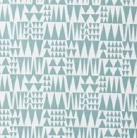 Jazz - Blue - Pale blue and white coloured fabric combining cotton and linen with a pattern of tessellated triangles