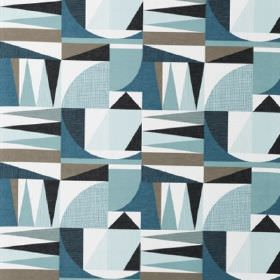 Nemo - Blue - Various geometric shapes in grey, white and several different shades of blue on fabric made from cotton and linen
