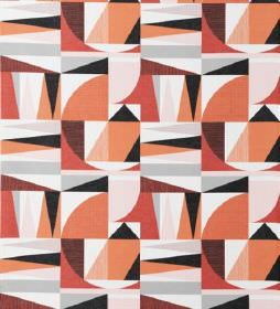 Nemo - Red - Various light shades of orange, grey and white making up a pattern of geometric shapes on cotton and linen blend fabric