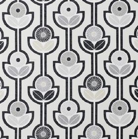 Julia - Black - Stylised flowers and simple leaves with thick outlines on 100% cotton fabric in various light and dark shades of grey