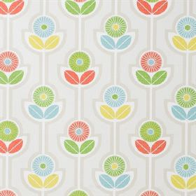 Julia - Multi - 100% cotton fabric printed with simple flowers and leaves, in light shades of grey, gold, red, green and blue