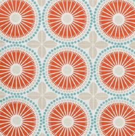 Juline - Coral - Circular, stylised flowers, dots and simple leaves printed on 100% cotton fabricin light red, blue and pale grey